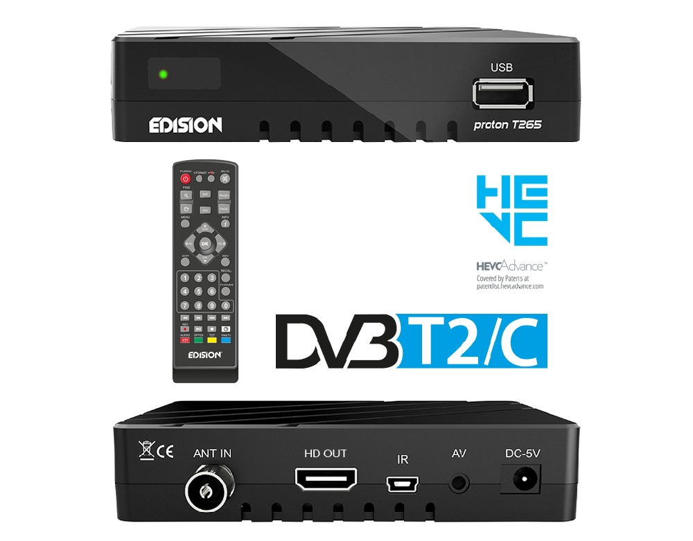 Kabel Receiver H265 H.265 Edision Edision Proton T265 Digital Full HDTV DVB-T2