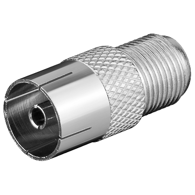 11840 F-Adapter: F female - Coaxial female, zinc