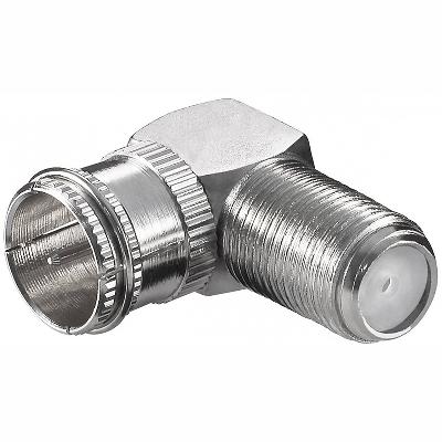 12435 Angle adapter: F male (Quick) - F female, zinc