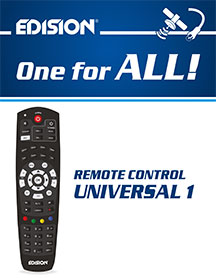 EDISION UNIVERSAL 1, NEW, ERGONOMICAL  EDISION 2-in-1 IR REMOTE CONTROL FOR EDISION RECEIVERS AND YOUR TV SET!